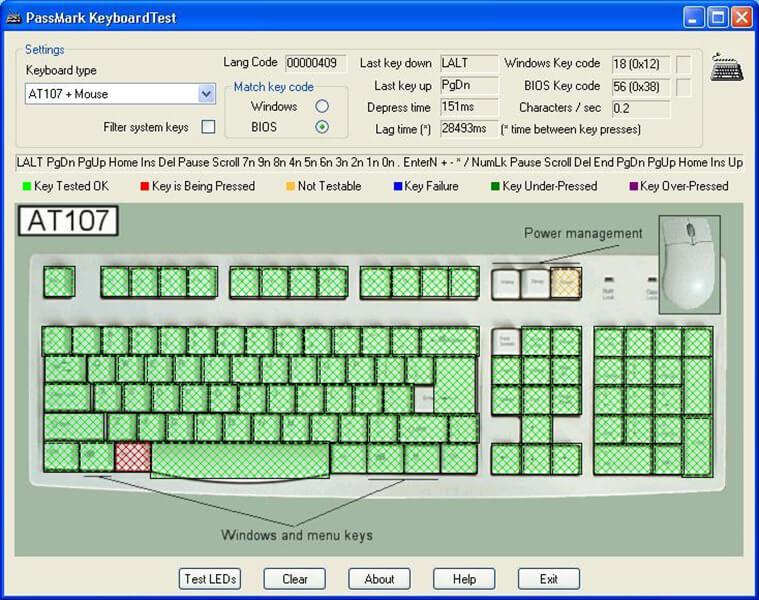 test bàn phím máy cũ