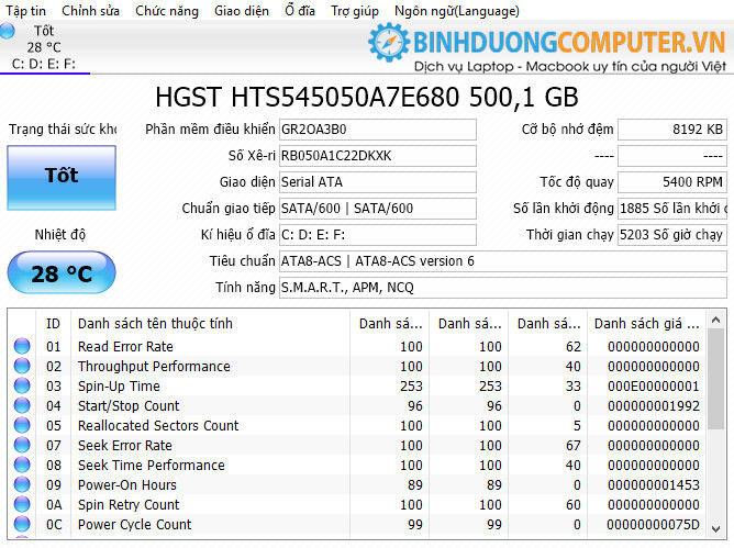 Kiểm tra sức khỏe ổ cứng bằng phần mềm CrystalDiskInfo