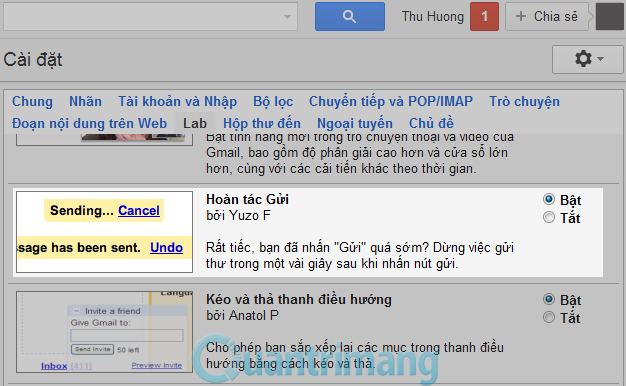 thay đổi giao diện trong mail