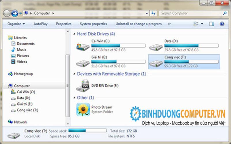 Chia lại ổ cứng trên máy tính không cần phần mềm