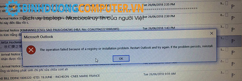sửa lỗi The operation failed because of a registry or installation problem