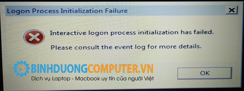 interactive logon process initialization has failed please consult the event log for more details