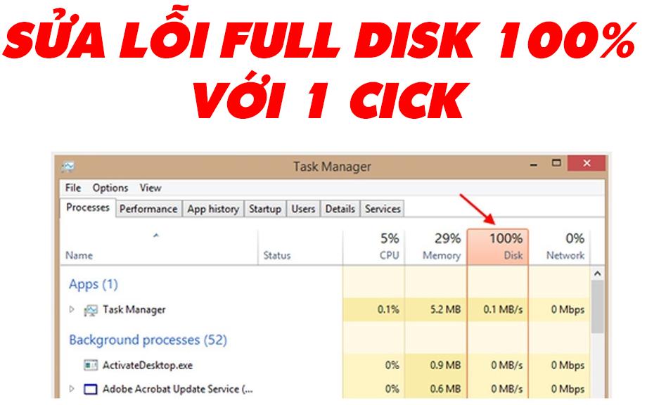 Khắc phục lỗi Full Disk 100% trên Windows 10