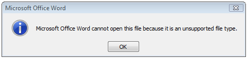 microsoft word cannot this file open because it is an unsupported file type