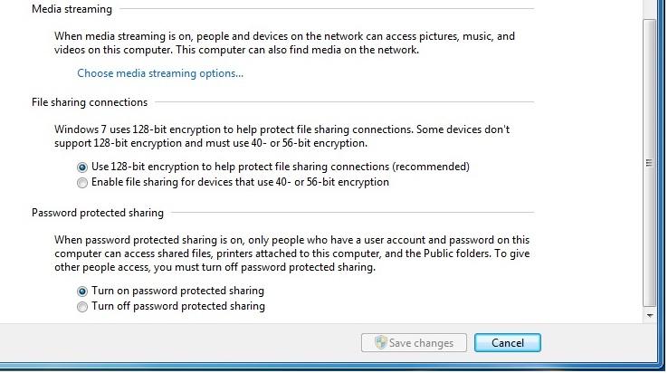 Hướng dẫn sửa lỗi không thể tắt  Password protected sharing