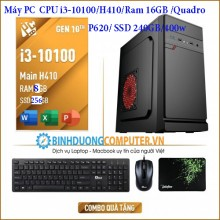 Máy PC  CPU i3-10100/H410/Ram 16GB /Quadro P620/ SSD 240GB/400w