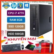 Máy PC gaming HP ProDesk 600 G1: CPU i7 4700/Ram 8Gb/SSD120Gb/HDD 500GB