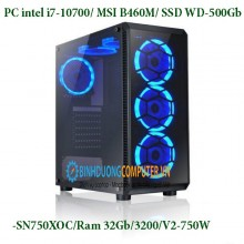 PC intel i7-10700/ MSI B460M/ SSD WD-500Gb-SN750XOC/Ram 32Gb/3200/V2-750W