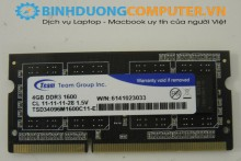 Ram laptop Team Elite 4GB - DDR3 - 1600MHz - PC3 12800